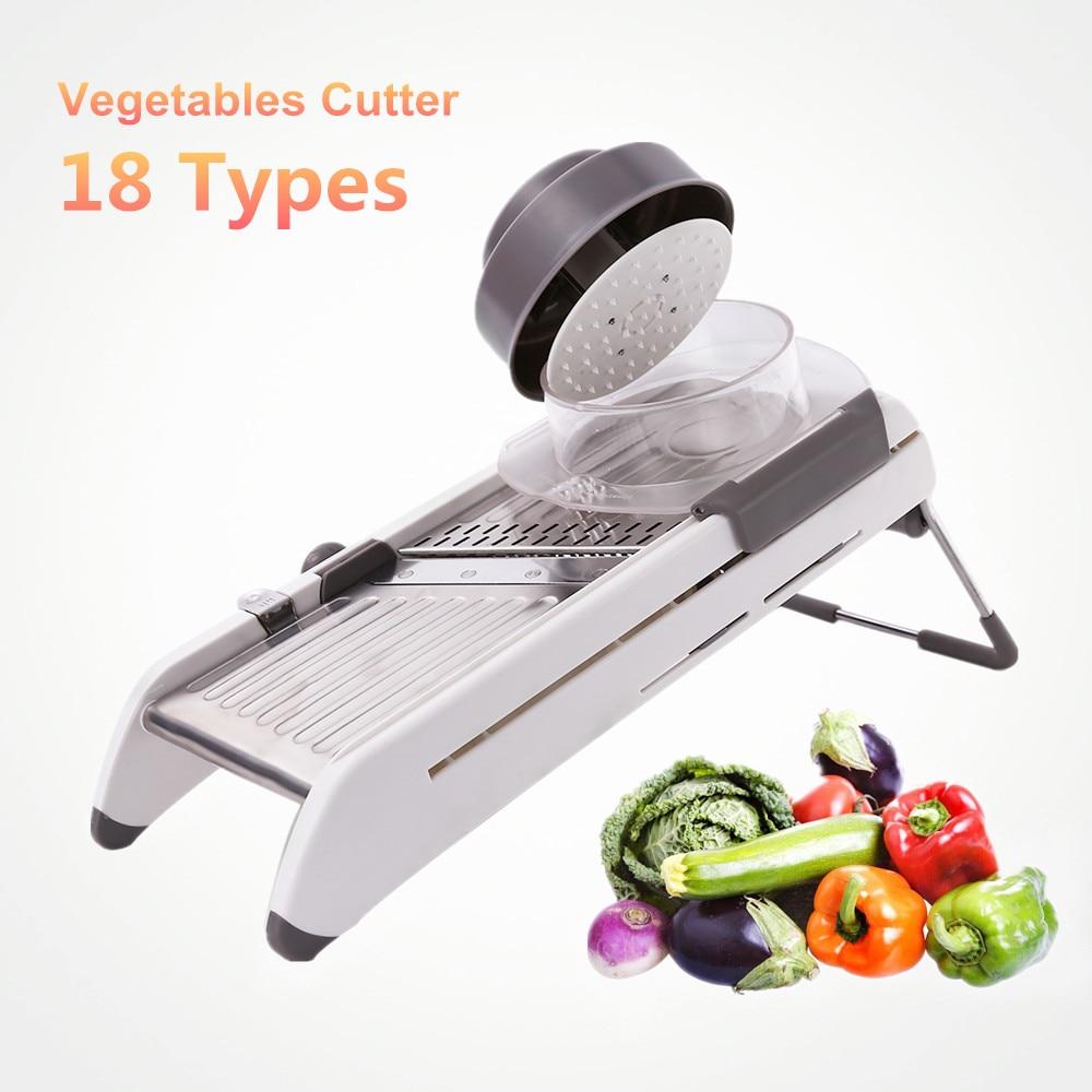18 tipos utilizan mandolina verduras cortador trituradoras Slicer Acero inoxidable cebolla patata zanahoria herramientas de cocina