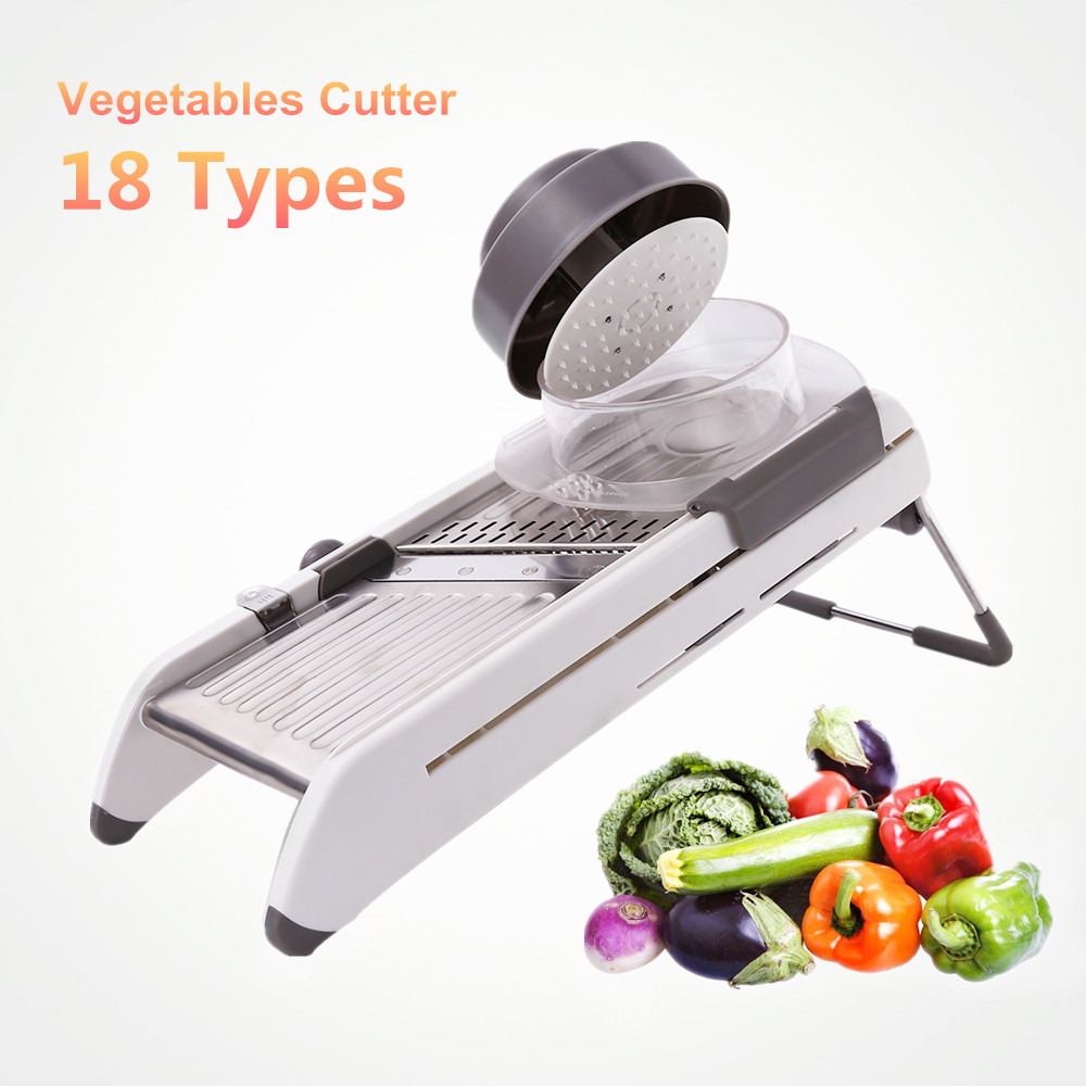 18 Types Utiliser Mandoline Légumes Cutter Broyeurs En Acier Inoxydable Trancheuse Oignon Pomme De Terre Cutter Carotte Râpe cuisine Outils