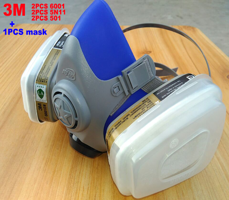 3M 6001 filter/5N11 Filter cotton/501 filter cover +Silicone respirator mask High grade High grade dust-proof Anti-virus gasmask silicone abs dust filter respirator mask dark grey