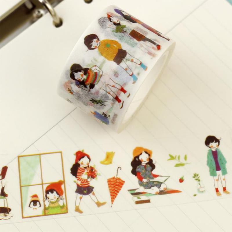 Cute Sweet Girl Washi Tape Japanese Masking Tape Decorative Tape Notebook Diary Diy Accessories Stationery Store School Supplies