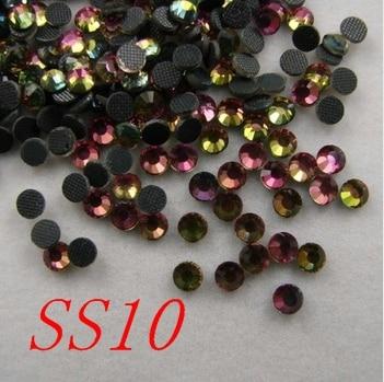 1440pcs/bag SS10 rainbow colour DMC Hot fix Rhinestones Flatback crystal stone with glue shoes dress accessaries