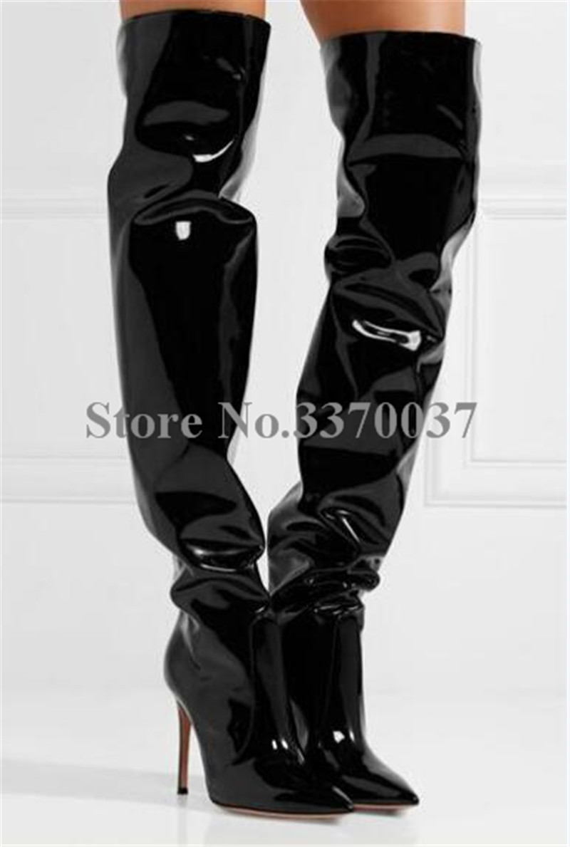 High Quality Women Charming Patent Leather Over Knee High Heel Boots Pointed Toe Black -6244