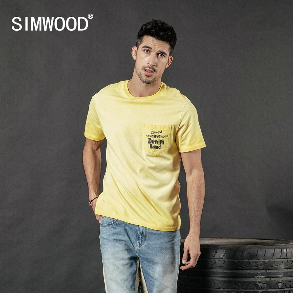 SIMWOOD 2020 summer new vintage t shirt men fashion washed letter print hip hop top 100% cotton tshirt plus size tee 190087T-Shirts   -