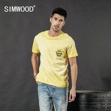 SIMWOOD 2020 여름 새 빈티지 t 셔츠 남성 패션 씻어 편지 인쇄 힙합 탑 100% 코 튼 tshirt 플러스 크기 티 190087