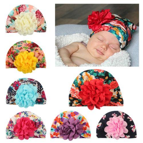 Cute Fancy Newborn Baby Girl Hats 3D Flower Soft Beanie Cotton Caps Floral  Autumn Spring Warm Hat Brand New 3597490912e