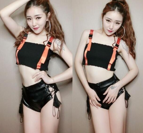 Bandage Buckle-Belt Crop-Top Shoulder-Strap Punk Short-Tank Bustier-Workout Black Streetwear Women
