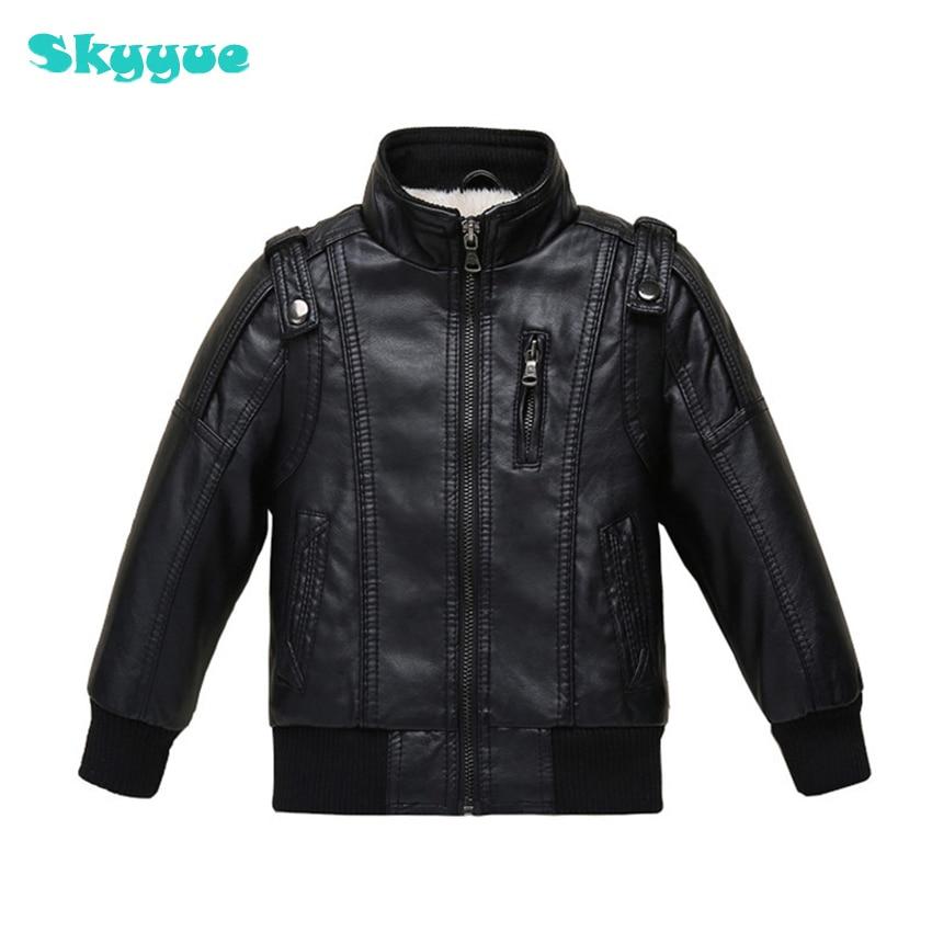 Boys fashion design PU leather jacket big boys wniter warm velvet coat baseball jacket boys teenage fashion clothing panel design zip up pu leather jacket