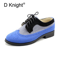 Fashion Round Toe Lace Up Women Genuine Leather Oxford Shoes Ladies Casual Cow Leather Patchwork Oxfords