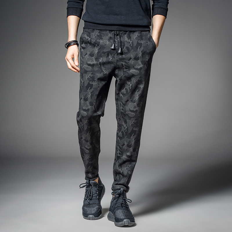 Men Tide Brand Black Camouflage Joggers Casual Flat Fit