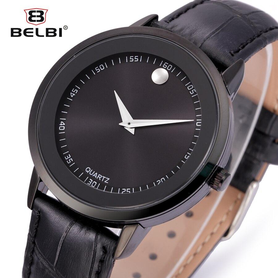 Belbi Luxury Men Watch Men Fashion Genuine Leather Strap Quartz Watches Waterproof Mens Black Sport Quartz-Watch Wristwatch 2016