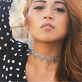 New Ethnic Women Antique Silver Collar Necklace Bohemian Jewelry Love Heart Choker Necklace 4L3018