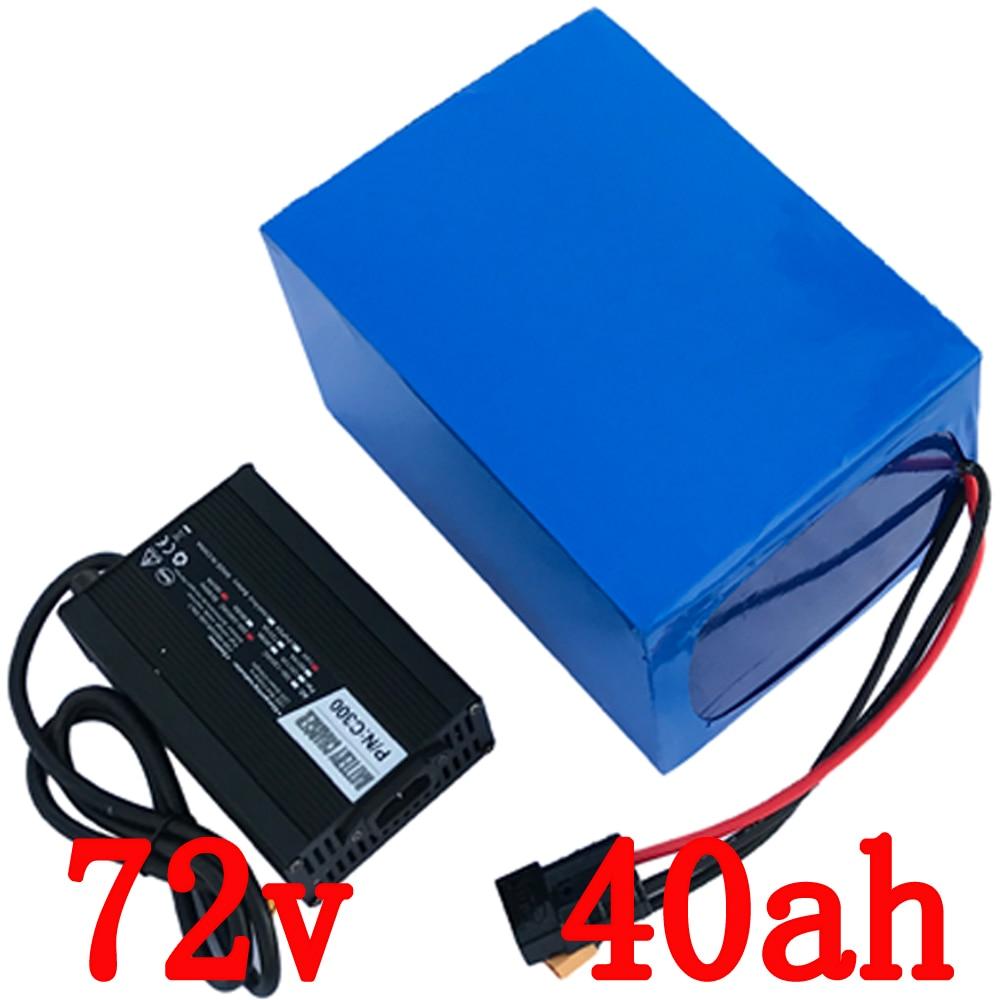 Vélo électrique Batterie 72 v 40Ah Lithium Scooter Batterie 72 v 2800 w avec 50A BMS 84 v 5A Chargeur eBike Batterie 72 v Livraison gratuite