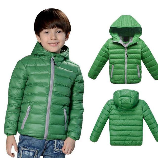 Дети Куртки Мальчиков Девушка Корейской моды вниз пальто, 3-12 Лет Ребенка Зимой Теплый Пальто Дети моды толщиной теплая зима с капюшоном Пальто