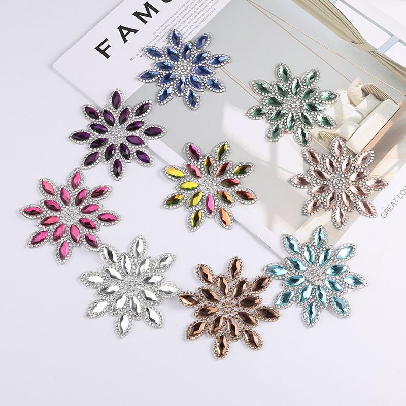 1pc/lot Crystal Flower Patches Motif Hotfix Rhinestone Applique For Clothes/bag/shoes Gems,kids Women Garments Accessories