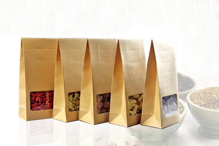 100ชิ้นถุงกระดาษคราฟท์/กล่องกระดาษสีน้ำตาลยืนขึ้นหน้าต่างสำหรับงานแต่งงาน/ของที่ระลึก/เครื่องประดับ/อาหาร/จัดเก็บลูกอมบรรจุถุง