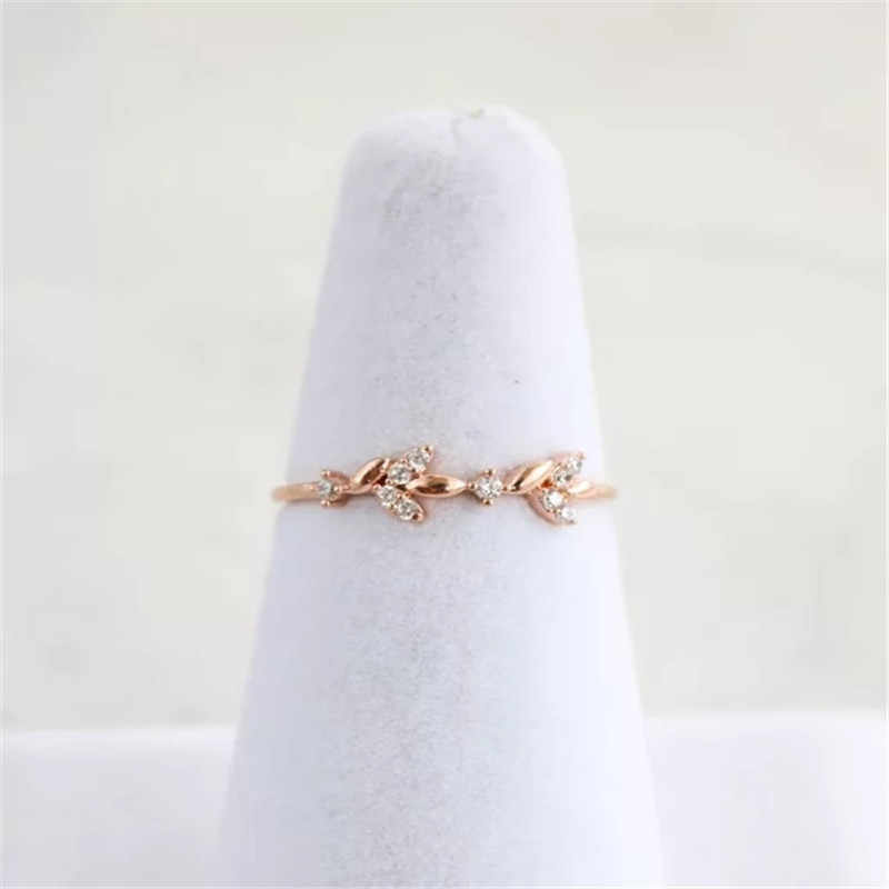 2018 Rose Gold Silver Color Cubic Zircon Leaf Design Wedding Engagement Ring For Women Ladies Bijoux Jewelry Gifts Mujer Anillos