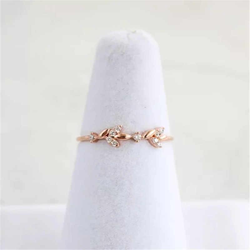 2018 Rose Vàng Bạc Màu Cubic Zircon Leaf Thiết Kế Wedding Engagement Ring Đối Với Phụ Nữ Phụ Nữ Bijoux Quà Tặng Đồ Trang Sức Mujer Anillos