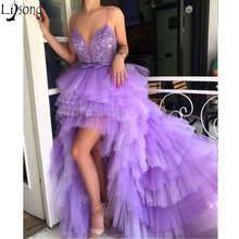 Vestido de Festa 2019 High Low Prom Dresses Unique Design Purple Tulle Elegant Evening Dress Sexy V Neck Spaghetti Formal Dress(China)