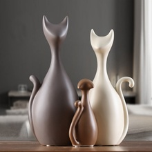 3 / 4pcs Nordic Modern Deer Cat Statue Family Creative Home Decoration Ceramic Crafts Wedding Gift TV Cabinet Accessories