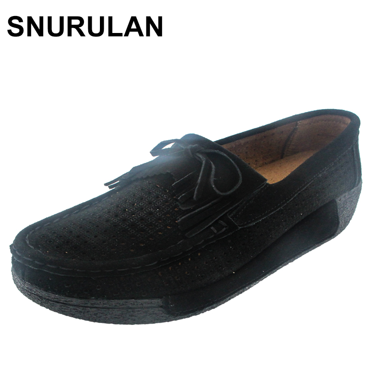 SNURULAN Spring Women Platform Shoes Casual Shoes Women   Leather     Suede   Wedges Flats Rubber Boots For Women Lace-Up