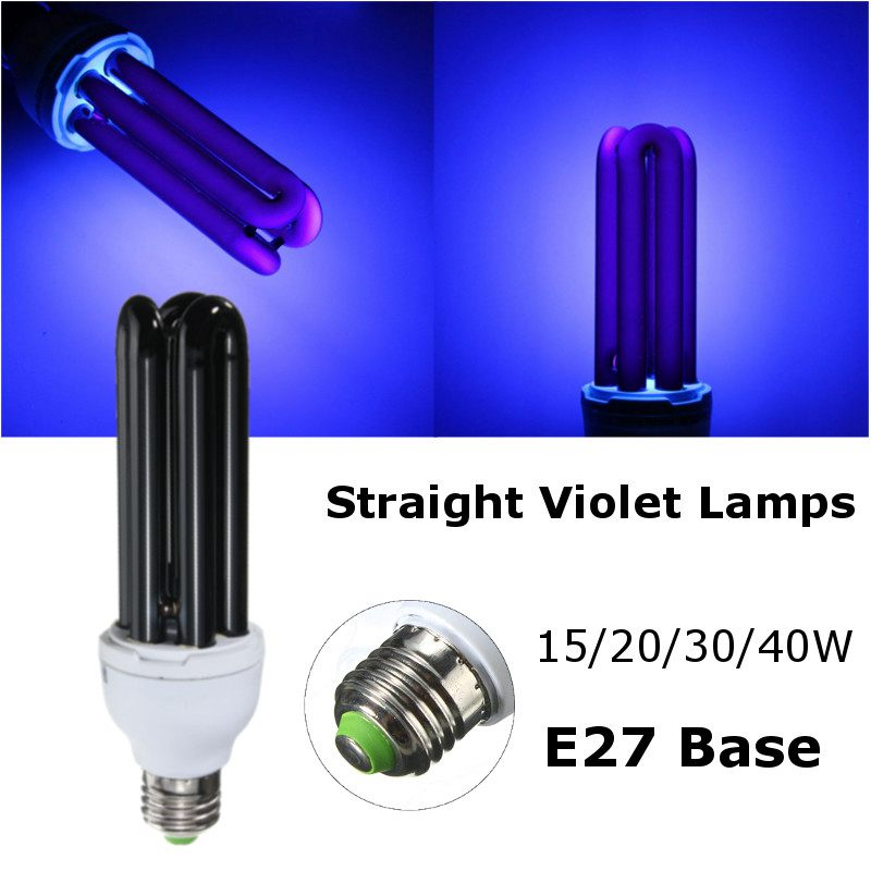 high quality e27 15203040w straight low energy uv ultraviolet fluorescent black light cfl light bulb violet lamps ac220v - Black Light Bulbs
