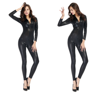 New Arrival Fashion Women Hot Sexy Snake Skin Jumpsuit Faux Leather Catsuit Zipper Front Bodycon Overall Fetish Costume