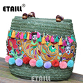 Beach Tavel Bohemian Boho Weave Straw Brand Bag Luxury Quality Women 2016 Thai Pompom Tassel Woven Knitting Embroidered Handbags