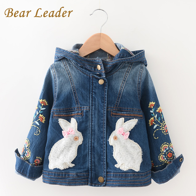 Bear Leader 2016 Winter Girls Denim Coats Children Clothing Kids Jackets Outerwear Long Sleeve Hooded Rabbit Print Girl Clothes