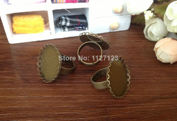 Free ship!!!200piece 25mm Ring base with round lace edged cabochon mountings
