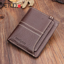 AETOO Pure cowhide handmade retro short men and women wallet multi-functional leather card money folder  young couple