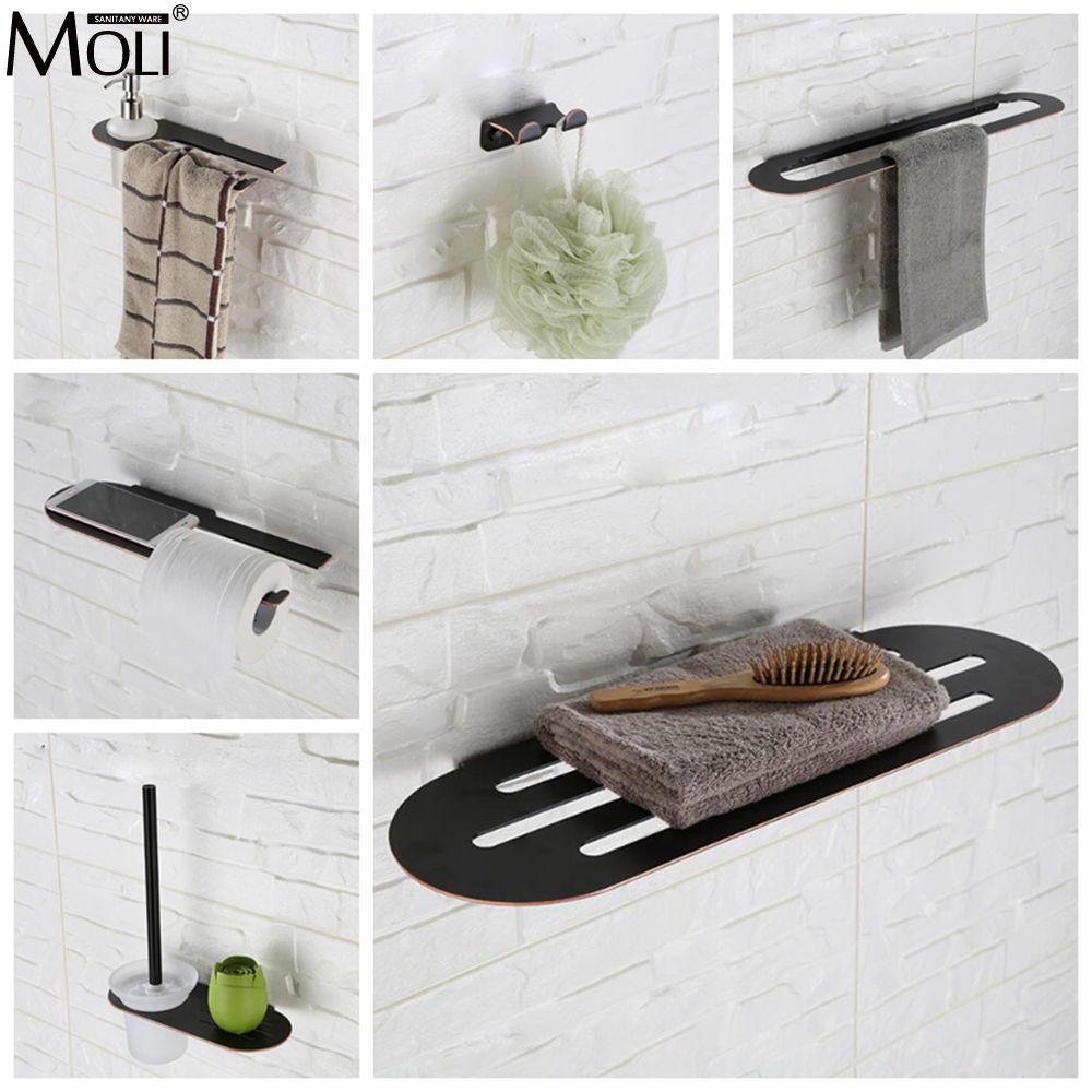 Bathroom Accessories Towel Shelf Towel Bar Toilet Paper Holder Soap Holder Stainless Steel Oil Rubble Bronze Finished