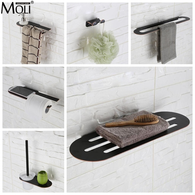 Bathroom Accessories Towel Shelf Bar Toilet Paper Holder Soap Stainless Steel Oil Rubble Bronze