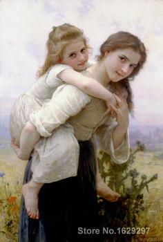 Canvas Paintings for living room Pleasant Burden William Adolphe Bouguereau High quality Hand painted