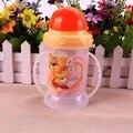 1 UNID Infant Toddler Newborn Baby Kids Taza Mango Niños Lindo Aprender Alimentación de Agua Potable Botella Mango Paja Taza de Entrenamiento 300 ml