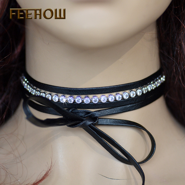 FEEROW Ronda la Imitación de la Cadena Del Cuello Del Diamante de Moda Para Las Mujeres de Moda de Estilo Europeo Gargantillas Collares Joyas Zirconia FWTP011