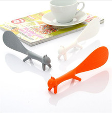 Food Grade Plastic Kitchen Supplie Cartoon Squirrel Shaped Ladle Non Stick Rice Paddle Meal Spoon Advertising Promotional Gifts