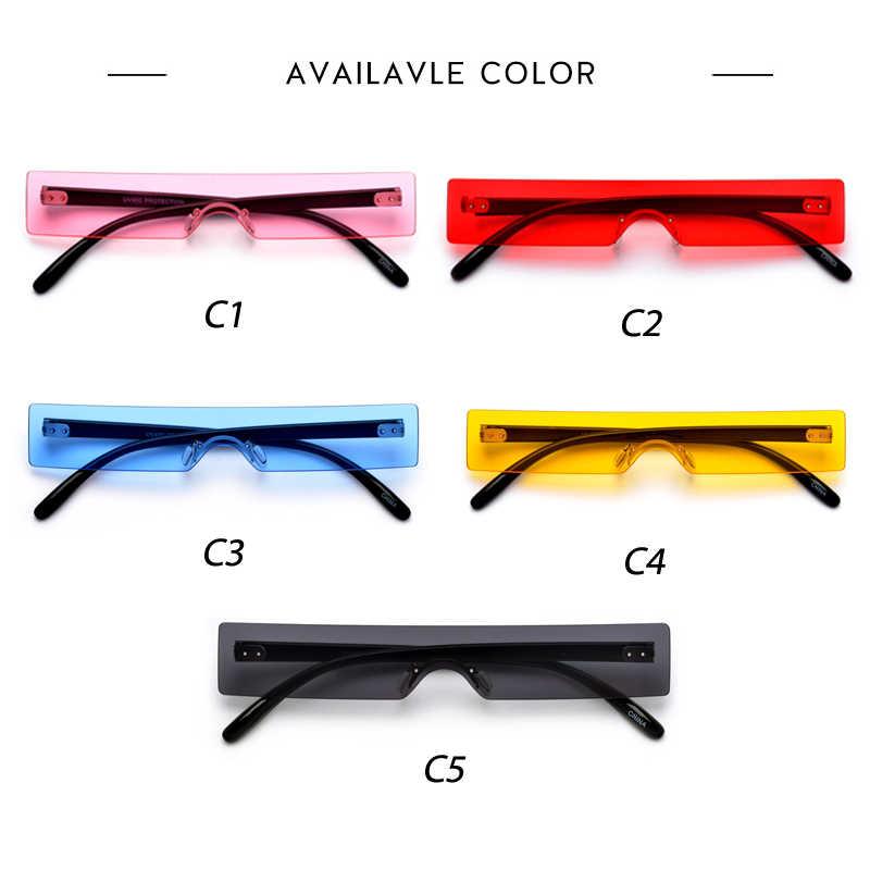 New Persegi Panjang Kacamata Wanita 2019 Fashion Mewah Merek Desainer Merah Pink Bening Lensa Kecil Kepribadian Matahari Kacamata Warna UV400