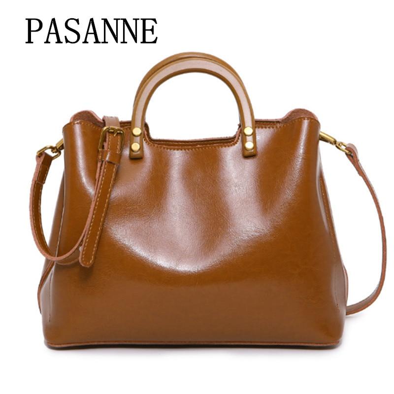 Fashion Women Bag Leather Handbag for Woman 2017 New PASANNE Luxury Genuine Leather Girl CrossBody Female Handbags Shoulder Bags