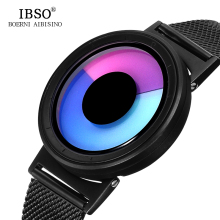 IBSO Brand Fashion Mens Watches 2017 Stainless Steel Mesh Strap 5 Color Sport Watch Men Creative Color change Quartz Wristwatch