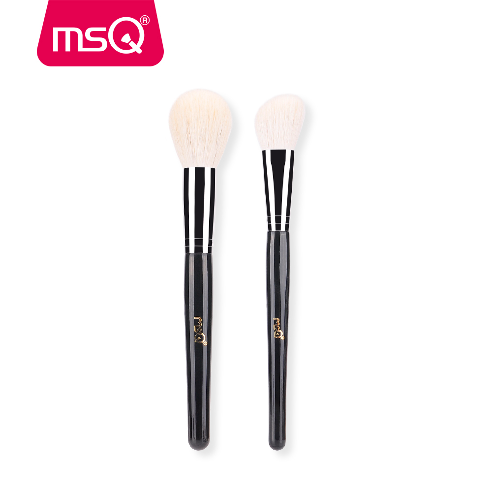 MSQ New Big Powder Makeup Brushes 2pcs Soft Goat Hair Powder Blush Angled Contour Make Up Brush Kit Without Skin Hurt Two Colors stylish multifunction telescopic design lid angled fiber blush brush