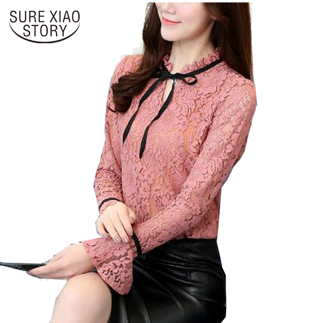 Lace Shirt Female 2017 Autumn Korean Fashion Women Long Sleeved Blouse Lace All-match Temperament Collar Top Shirt Blusas 191C30