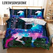 LOVINSUNSHINE Cover Bed Set King Duvet Cartoon Unicorn Print For Kids Comforter Quilt AB#61