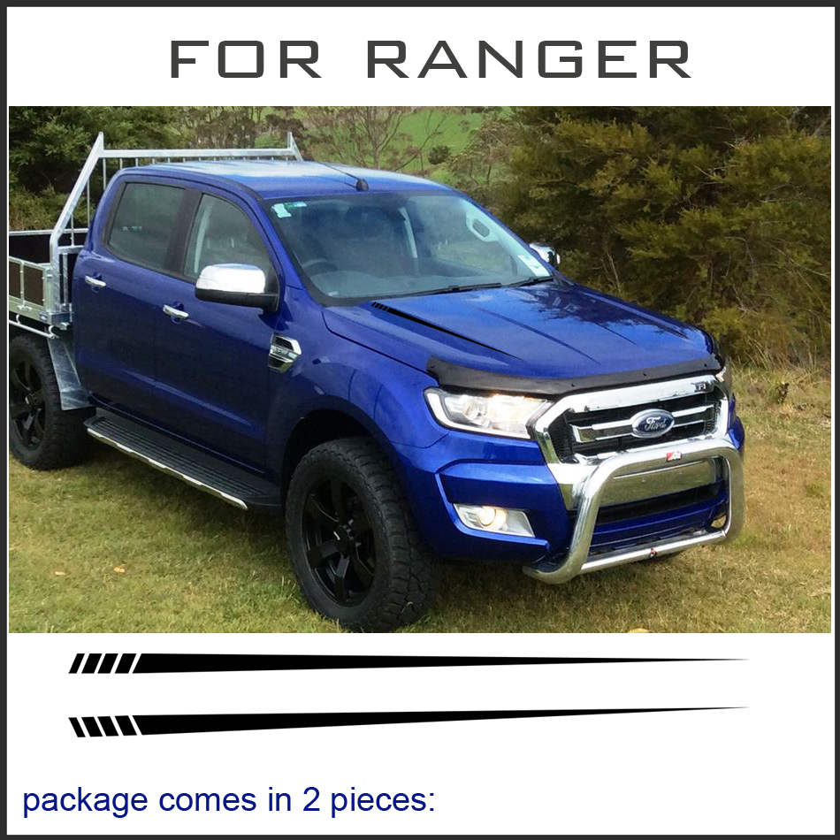 free shipping 2 PC cool hood bonnet Gradient side stripe graphic Vinyl sticker for Ford ranger 2012-2017 sticker 2 pc hilux hilux chequered racing side stripe graphic vinyl sticker for toyota hilux decals