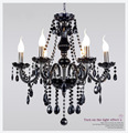 Modern led crystal chandelier ceiling chan pendant black chandeliers home light fixtures 6 arms 8 rams lamp110v 220v