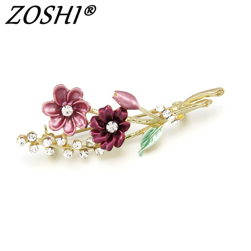 ZOSHI Brand Flower Oil Dripping Gold Color Pins Brooches for Women Brooch Pins Jewelry Wedding Decoration Wholesale Price