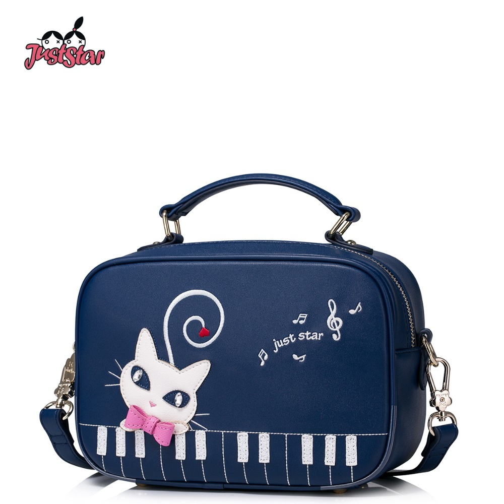 JUST STAR Women's PU Leather Handbag Ladies Cute Cat Embroidery Tote Shoulder Purse Female  Piano Boston Messenger Bags JZ4205 just star women s pu leather handbag ladies cartoon cat embroidery tote shoulder purse female leisure messenger bags jz4492