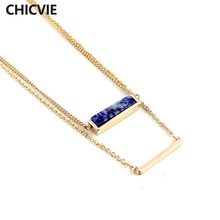 CHICVIE Natural Stone Long Multilayer Necklace for Women Best Friends Fashion Gold Color Chain Maxi Necklaces Jewelry SNE160065