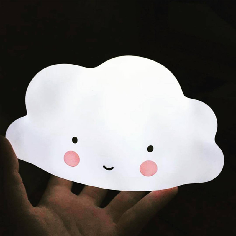 Cloud Smile Face Night Light White Blue Pink Night Lamp Mini Cloud Light Emitting For Children Birthday Novelty Gifts Ornament smile cloud led wall lamp