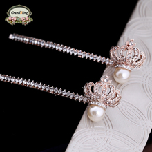 New Style Korean Princess Crown Hairpin More Hair Vintage Crystal Phoenix Hair Jewelry For Women Rhinestone Wedding Accessories