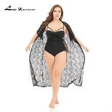 Lan Karswear ビーチビキニロングカーディガン花シフォン無地視点大サイズの服中空アウト黒半袖